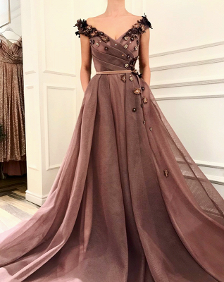 Stunning Brown Prom Dress | V-Neck Ball Gown Evening Gowns_3