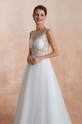 Caltha | Beautiful Bateau neck White Wedding Dress with Sparkling Sequins, Babyonlinedress Design Lace Bridal Gowns_3