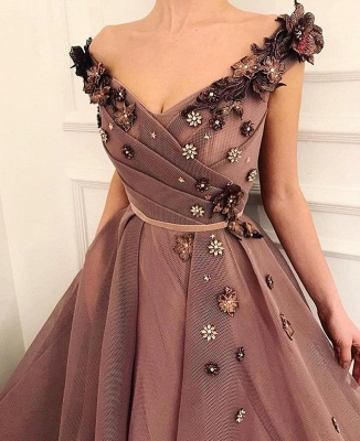 Stunning Brown Prom Dress | V-Neck Ball Gown Evening Gowns_2