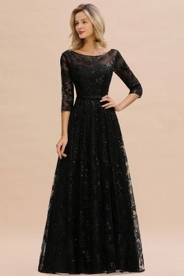 Acacia | Scoop neck Long Sleeves Black Prom Dresses with Sparkly Floral Designs_2