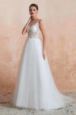 Caltha | Beautiful Bateau neck White Wedding Dress with Sparkling Sequins, Babyonlinedress Design Lace Bridal Gowns_6