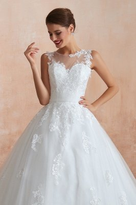 Cain   Illusion Neck White Wedding Dress with exqusite Lace Appliques, Sleeveless V-back Bridal Gowns Online_4