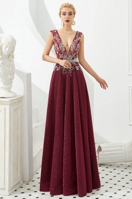Caitin Catherine | Sexy V-neck Burgundy Sparkle Prom Dresses, Custom made Sleeveless Backless Evening Gowns