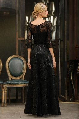 Acacia | Scoop neck Long Sleeves Black Prom Dresses with Sparkly Floral Designs_12