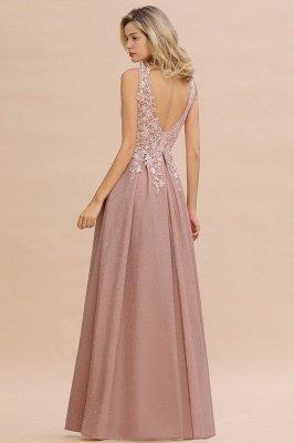 Rebacca | A-Line V-neck Floor-Length Tulle Sequined Prom Dresses_8