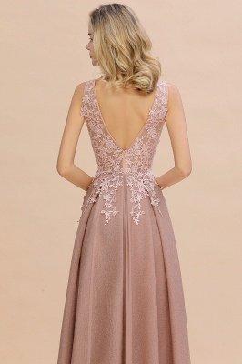 Rebacca | A-Line V-neck Floor-Length Tulle Sequined Prom Dresses_15