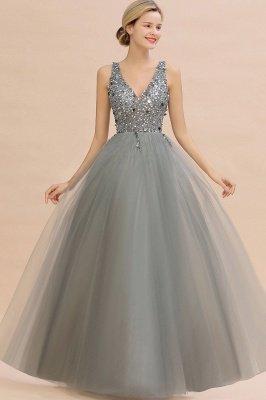 Abina | Robe de bal sexy avec col en V et perles fantaisie avec dos et pierres précieuses_9