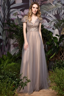 Aria | Stunning Short Sleeves Squared Sequined Tulle Luxury Prom Dress_2