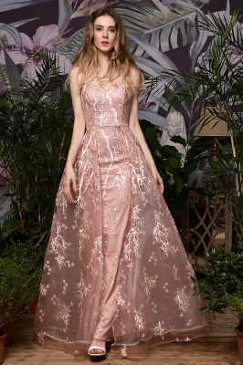 Ardolph | Gorgeous Dusty Pink Spaghetti Strap A-line Lace Prom Dress_1