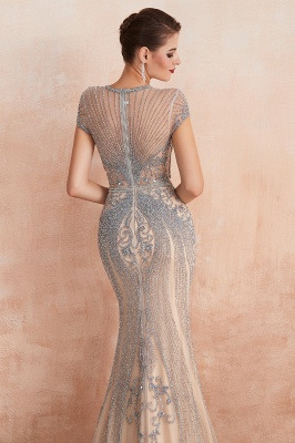 Chloé | Robe de bal en mousseline de soie bleu marine foncé de luxe avec trou clé et manches étincelantes en ligne, belles robes de soirée pour soirée_11