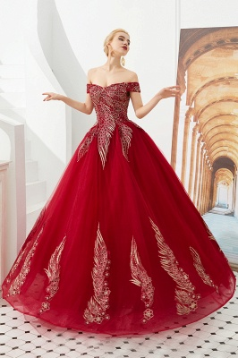 Henry   Elegant Off-the-shoulder Princess Red/Mint Prom Dress with Wing Emboirdery_4