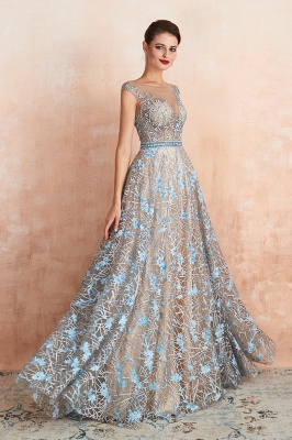 Celandine | Expensive Cap Sleeve See-through Prom Dress with Sky Blue Appliques, Unique Luxury Design Long Evening Dress Online_6