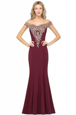 Simple Off-the-shoulder Burgundy Formal Dress with Lace Appliques_10