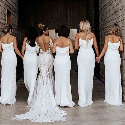 Sheath Spaghetti Straps Folded Neckline Fit Bridesmaid Dresses | Backless Fitted Long Floor Length Prom Dresses_5
