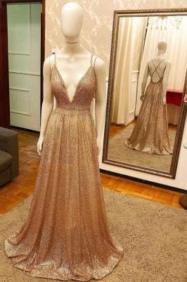 Trendy New Arrival Pluging V-neck Golden Sparkle Prom Dress with Criss-cross Back_1