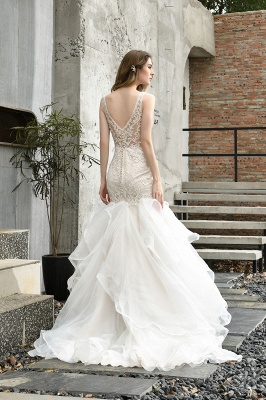 Sexy See-through Lace Mermaid Lace Sleeveless Ivory Wedding Dress with Ruffle Train_3