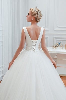 Sexy V-neck sleeveless White Princess Spring Wedding Dress | Elegant Low Back Bridal Gowns with Belt_10