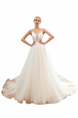 Summer Spaghetti Straps Plunging V-neck Champange Wedding Dress | Sexy Low Back Bridal Gowns Online_1
