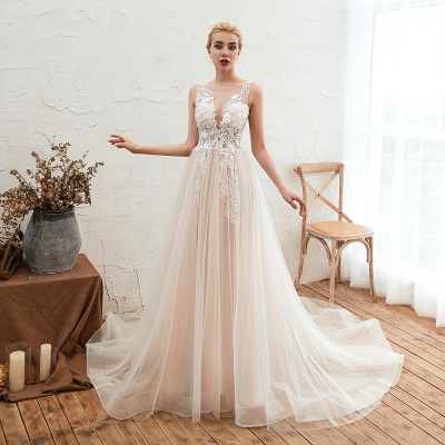 Illsuion neck Champange Wedding Dress with Chapel Train | Sleeveless Summer Bridal Gowns Online_13
