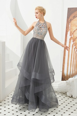 Floral Halter Evening Dress with Sparkle Beads | Trendy Gray Mother of the bride Dress with watermelon and blue decorations_1