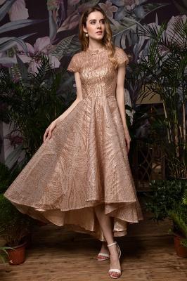 Ardolf | High neck Short Sleeve Champange Sequined High Low Prom Dress_6