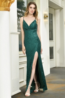 Ardell | Sexy Black Emerald Sequined High Slit Prom Dress Online_11