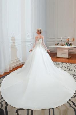 Romántico de encaje de manga larga princesa vestido de novia de satén | Vestidos de novia princesa con tren catedral_6