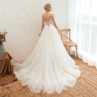Summer Spaghetti Straps Plunging V-neck Champange Wedding Dress | Sexy Low Back Bridal Gowns Online_23