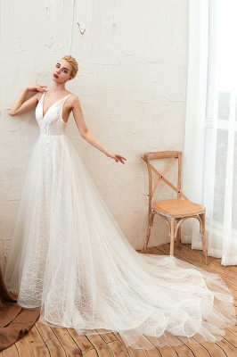 Harlan | Chic Deep V-neck White Tulle Princess Open back Wedding Dress with Court Train_5