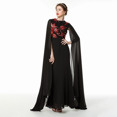 Elegant Black Long Evening Dress with Shawl | Round neck Modest Bridesmaid Dress_1