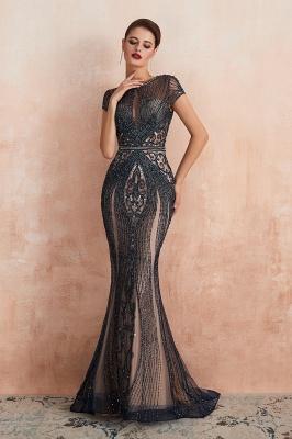 Chloé | Robe de bal en mousseline de soie bleu marine foncé de luxe avec trou clé et manches étincelantes en ligne, belles robes de soirée pour soirée_14