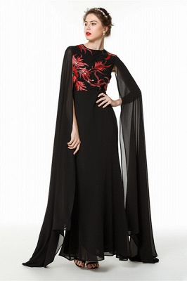 Elegant Black Long Evening Dress with Shawl | Round neck Modest Bridesmaid Dress_3