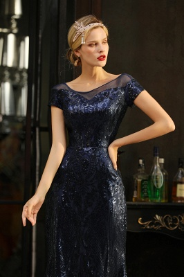 Helen| Long Sequined Cap sleeves Scoop neck Formal dress for Prom_4