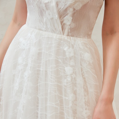 Harlan | Chic Deep V-neck White Tulle Princess Open back Wedding Dress with Court Train_4