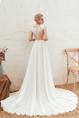 Sexy White High split Cap Sleeve Wedding Dress with see-through Back | Ivory Lace Bridal Gowns for Sale_10