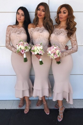 Sexy Mermaid Off-shoulder Lace Appliques Prom Dresses | Elegant Mermaid Ankle Length Wedding Party Dresses_3