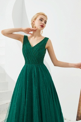 Harriet | Shining Emerald green Sexy V-neck Princess Low back Prom Dress with Pleats_5