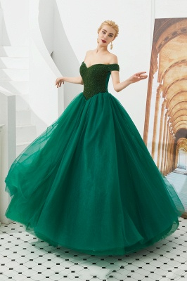 Harry | Elegant Emerald green Off-the-shoulder Ball Gown Dress for Prom/Evening_19