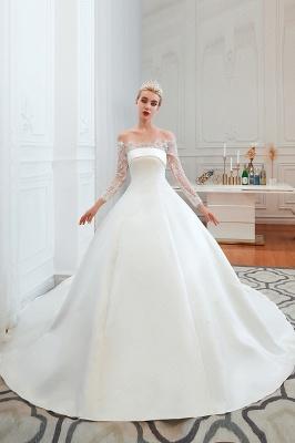 Romántico de encaje de manga larga princesa vestido de novia de satén | Vestidos de novia princesa con tren catedral_16