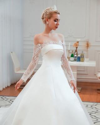 Romántico de encaje de manga larga princesa vestido de novia de satén | Vestidos de novia princesa con tren catedral_23