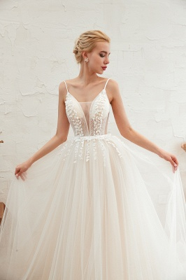 Summer Spaghetti Straps Plunging V-neck Champange Wedding Dress | Sexy Low Back Bridal Gowns Online_21