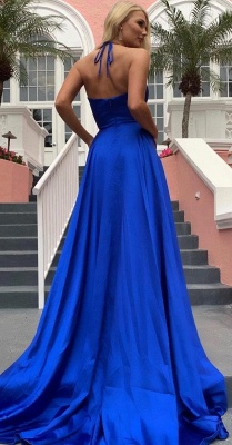 Cheap Spaghetti Strap Shiny Royal Blue Prom Dress with High Split   Sexy V-neck Princess Evening dress online_5
