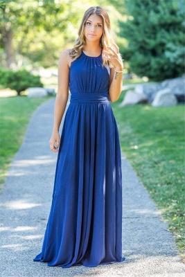 Ocean Blue Halter Chiffon Bridesmaid Dresses | A-line Open Back Floor-length Bridesmaid Dresses_2