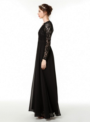 Phebe | Black Long Sleeves V-neck Long Bridesmaid Dresses for fall wedding_3