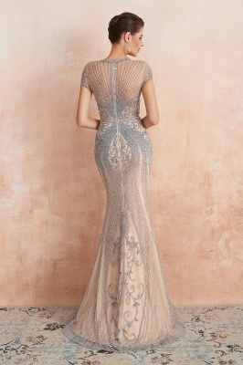 Chloé | Robe de bal en mousseline de soie bleu marine foncé de luxe avec trou clé et manches étincelantes en ligne, belles robes de soirée pour soirée_8
