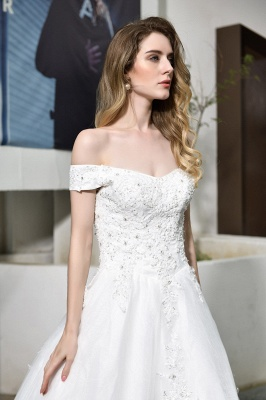 Elegant White Lace Off Shoulder Long Princess Wedding Dress with Beaded Lace Appliques_4