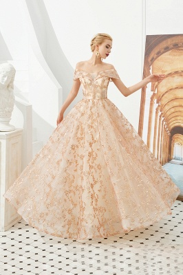 Hale | Romantic Off-the-shoudler Rose Gold Lace-up Tulle Prom Dress with Sparkly Appliques_4