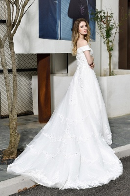 Elegant White Lace Off Shoulder Long Princess Wedding Dress with Beaded Lace Appliques_3