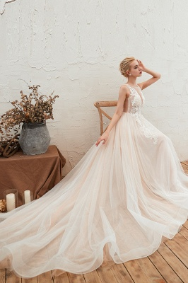 Illsuion neck Champange Wedding Dress with Chapel Train | Sleeveless Summer Bridal Gowns Online_5