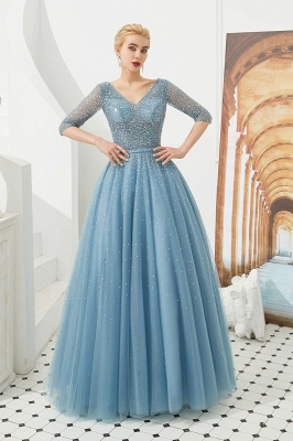 Harold | Discount V-neck Fully beaded 2/3 sleeves A-line Tulle Long Prom Dress_6